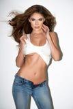 Wspaniała curvy brunetki kobieta zdjęcie stock
