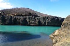 Wspaniała fotografia aqua barwił rzekę w Iceland obrazy royalty free