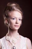 Wspaniała piękna kobieta w rocznika wiktoriański sukni Zdjęcie Royalty Free