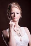 Wspaniała piękna kobieta w rocznika wiktoriański sukni Zdjęcie Stock