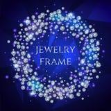 Wspaniała Round rama Iskrzaści diamenty Obraz Stock