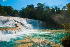 Wspaniała siklawa w Meksyk, piękna sceneria przegapia siklawy Agua Azul blisko Palenque Chiapas Obrazy Royalty Free