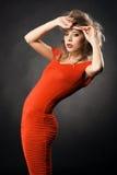 wspaniała togi modela czerwień Zdjęcia Royalty Free