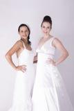Wspaniałe panny młode jest ubranym biały z podnieceniem i uśmiechniętego Obraz Royalty Free