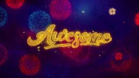 Wspaniałe powitanie teksta błyskotania cząsteczki na barwionych fajerwerkach