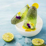 Wspaniałej domowej roboty zieleni owocowy jarski bezpłatny lody z chia ziarnami, owocowy sok, wapno z Obrazy Stock