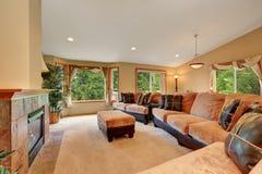 Wspaniały żywy izbowy wnętrze z beżową aksamita i skóry kanapą Fotografia Stock