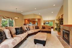 Wspaniały żywy izbowy wnętrze z beżową aksamita i skóry kanapą Obraz Royalty Free