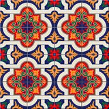 Wspaniały bezszwowy deseniowy biały kolorowy marokańczyk, portugalczyk płytki, Azulejo, ornamenty Może używać dla tapety ilustracja wektor