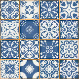 Wspaniały bezszwowy patchworku wzór od zmroku - błękitnych i białych marokańczyk płytek, ornamenty Może używać dla tapety Fotografia Royalty Free