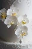 Wspaniały biały ślubny tort Zdjęcia Royalty Free