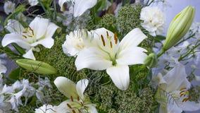Wspaniały bukiet białe leluje i goździki kwitnie Zdjęcia Stock