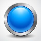 Wspaniały duży błękitny guzik odizolowywający Zdjęcia Stock