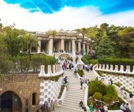 Wspaniały i zadziwiający Parkowy Guel w Barcelona zdjęcia stock