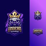 Wspaniały ilustracyjny czaszki królewiątka logo sport royalty ilustracja