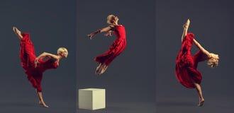 Wspaniały młody baletniczy tancerz jest ubranym czerwieni suknię nad zmrok popielatymi półdupkami obrazy stock