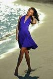 Wspaniały młody brunetka model w luksus sukni Fotografia Stock