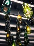 Wspaniały retro lekki lampa wystrój robić puste wino butelki Zdjęcie Royalty Free