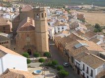Wspaniały stary kościół w Baños de losie angeles Encina, Hiszpania obrazy stock