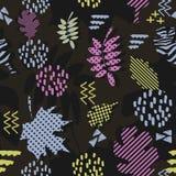 Wspaniały unikalny jesień spadku ulistnienia wektoru wzór z Memphis geometrycznym modnym kolorowym abstraktem Liście klonowi na m Zdjęcie Stock