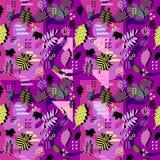 Wspaniały unikalny jesień spadku ulistnienia wektoru wzór z Memphis geometrycznym modnym kolorowym abstraktem Liście klonowi na m obraz stock