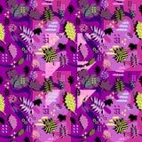 Wspaniały unikalny jesień spadku ulistnienia wektoru wzór z Memphis geometrycznym modnym kolorowym abstraktem Liście klonowi na m obrazy stock