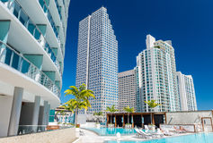 Wspaniały widok W centrum Miami drapacze chmur Luksus i holid zdjęcia stock