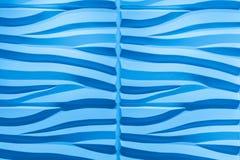 Wspaniały zbliżenie wyszczególniający widok wewnętrzna luksusowa dekoracyjna ściana, gładki falisty błękitny tło Zdjęcia Stock
