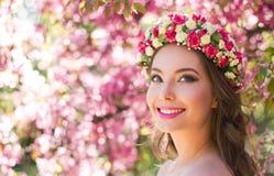 Wspaniała wiosny makeup kobieta Zdjęcia Stock