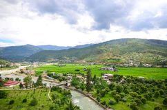 Wspaniały krajobraz Paro dolina Zdjęcia Royalty Free