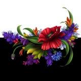 Wspaniali wiejscy kwiaty, kwiecisty tło ilustracja wektor