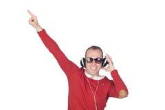 Współczujący mężczyzna z hełmofonem Zdjęcia Royalty Free