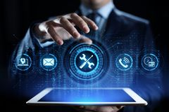 Wspiera 24 7 obsługi klientej zapewnienia jakości technologii Biznesowego pojęcia zdjęcia stock