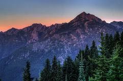 Wspina się Angeles przy zmierzchem w Olimpijskim parku narodowym, stan washington zdjęcia stock