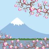 Wspina się Fuji, wiosny natury tło z Japońskimi czereśniowymi okwitnięciami, Sakura menchii kwiatów krajobraz Wodny jezioro, laso ilustracji