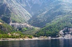 Wspina się Athos, Grecja Agiou Pavlou lub St Paul ` s monaster, Zdjęcia Royalty Free