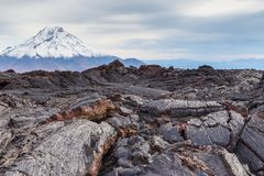Wspina si? Bolshaya Udina, powulkaniczny masywny, jeden powulkaniczny kompleks na Kamchatka, Rosja obraz stock