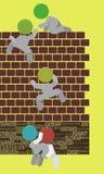 wspinaczkowych ilustracyjnych mężczyzna teamplay pracy zespołowej ściana Obraz Stock