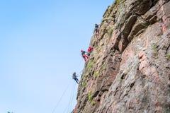 wspinaczkowych kępek rockowe arkany dwa Grupa młodzi rockowi arywiści wspina się pionowo granit skałę sport ekstremalny Zdjęcie Stock