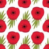 Wspominanie dzień, Bezszwowy wzór z czerwonymi maczkami Zdjęcia Royalty Free