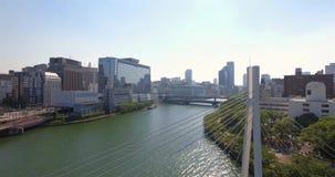 Wstępujący widok Osaka linia horyzontu zdjęcie wideo