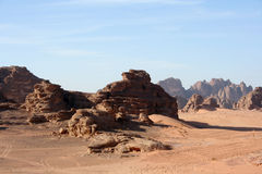 Wüstenlandschaft, Wadi Rum, Jordanien Lizenzfreies Stockfoto