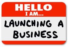 Wszczynać Biznesowego imienia etykietki Majcheru Nowy Firma początek Obrazy Stock