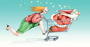 Wszczynający w Bożenarodzeniowym zakupy ilustracja wektor