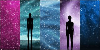 Wszechświat, gwiazdy, gwiazdozbiory, planety i obcy kształt, obraz royalty free