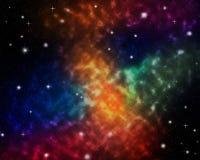 Wszechrzecza scena odkurza mgławicy galaxy w przestrzeni z różnorodnymi rodzajami gwiazdy ilustracyjnego tła kolorowy niebiański  ilustracji