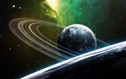 Wszechrzecza scena z planetami, gwiazdami i galaxies w kosmosie pokazuje piękno eksploracja przestrzeni kosmicznej, elementy obraz stock