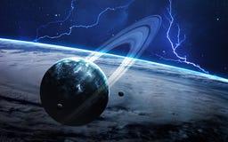 Wszechrzecza scena z planetami, gwiazdami i galaxies w kosmosie pokazuje piękno eksploracja przestrzeni kosmicznej, elementy zdjęcie stock