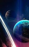 Wszechrzecza scena z planetami, gwiazdami i galaxies w kosmosie pokazuje piękno eksploracja przestrzeni kosmicznej, Elementy mebl zdjęcia stock