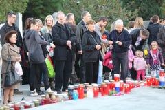 Wszystkie świętego dzień, Mirogoj cmentarz w Zagreb Obraz Stock